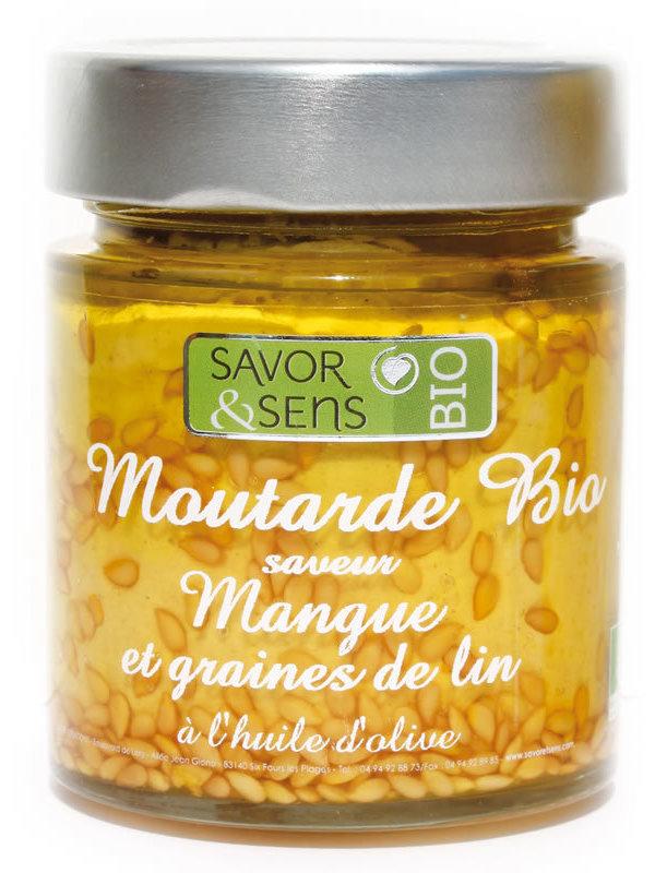 Moutarde saveur mangue et graines de lin